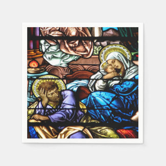 Birth of Jesus Stained Glass Window Standard Cocktail Napkin