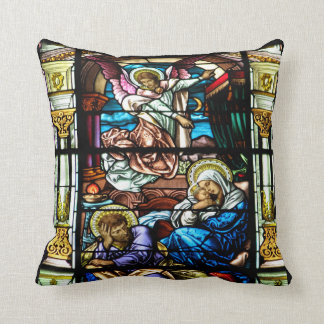 Birth of Jesus Stained Glass Window Throw Pillow