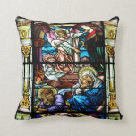 Birth of Jesus Stained Glass Window Throw Pillows