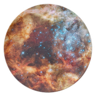 Birth of Stars Cosmic Creation Blue Star Cluster Plate