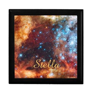 Birth of Stars Cosmic Creation Blue Stars Name Jewelry Box