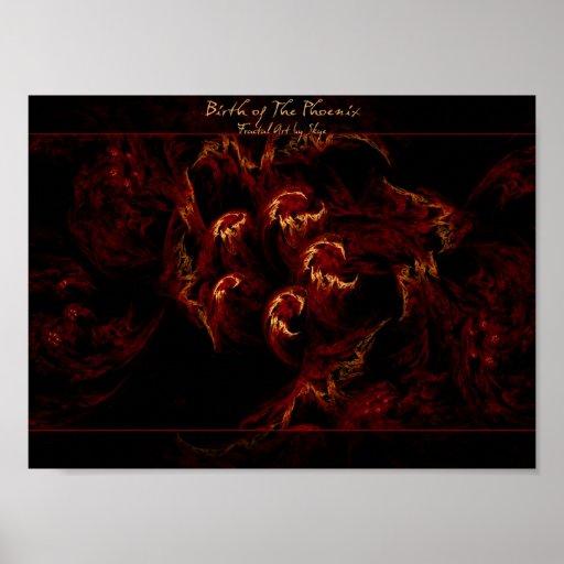 Birth of the Phoenix fractal art poster