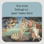 Birth of Venus by Sandro Botticelli Bookplate Square Stickers