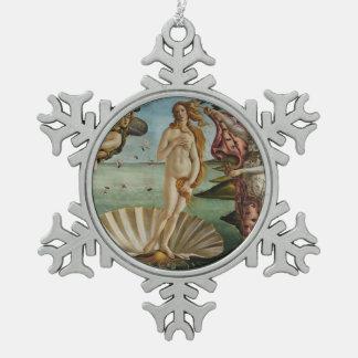 Birth of Venus by Sandro Botticelli Snowflake Pewter Christmas Ornament