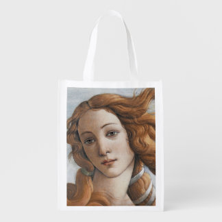 Birth of Venus close up by Sandro Botticelli Grocery Bag