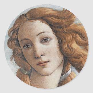 Birth of Venus close up head Classic Round Sticker
