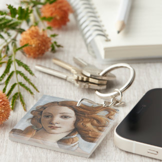 Birth of Venus detail by Sandro Botticelli Double-Sided Square Acrylic Keychain