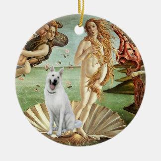 Birth of Venus-White German Shepherd Ceramic Ornament