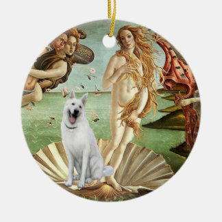 Birth of Venus-White German Shepherd Double-Sided Ceramic Round Christmas Ornament
