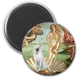 Birth of Venus-White German Shepherd 2 Inch Round Magnet