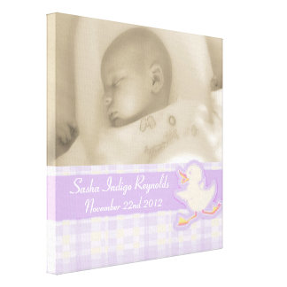 Birth photo purple check and duck canvas wrap canvas print