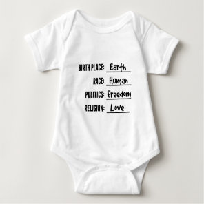 BIRTH PLACE EARTH BABY SHIRT