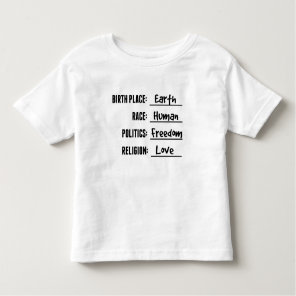 BIRTH PLACE EARTH SHIRT FOR TODDLERS