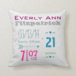 Birth Record Girl's Nursery Room Baby Stat Records Pillow