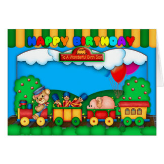 birth son greeting card with cute little train