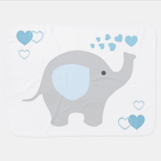 Birth Stats Baby Boy Elephant Nursery Blue Grey Receiving Blanket