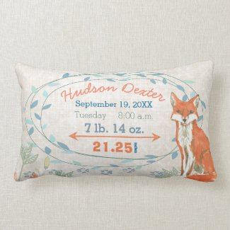 Birth Stats Baby Boy Forest Nursery Fox Lumbar Pillow