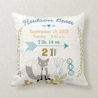 Birth Stats Baby Boy Woodland Creatures Fox Pillow