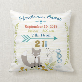 Birth Stats Baby Boy Woodland Creatures Fox Throw Pillow at Zazzle