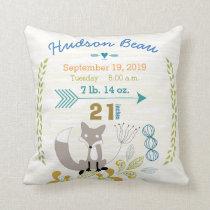 Birth Stats Baby Boy Woodland Creatures Fox Throw Pillow