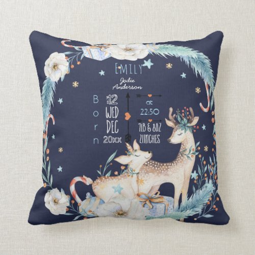 Birth Stats Baby Decor Watercolor Deer Flowers Throw Pillow