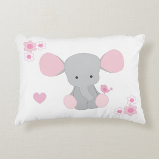 Birth Stats Baby Girl Elephant Pink Grey Gray Decorative Pillow