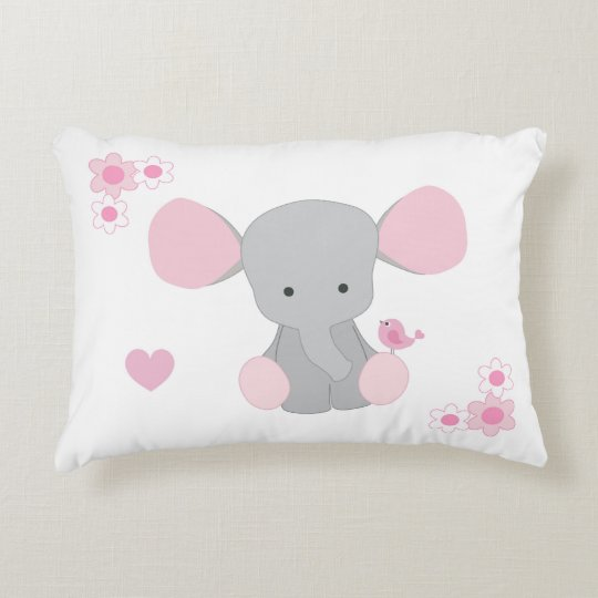 Birth Stats Baby Girl Elephant Pink Grey Gray Decorative Pillow Amazing Baby Girl Decorative Pillows