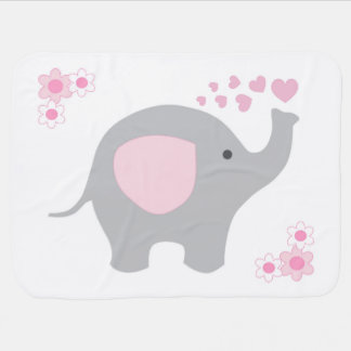 Birth Stats Baby Girl Elephant Pink Grey Gray Swaddle Blanket