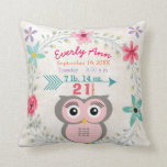 "Birth Stats Baby Girl Forest Creature Pink Owl Throw Pillow<br><div class=""desc"">Birth Stats Baby Girl Woodland Forest Creatures Pink and Gray Owl Nursery Pillow.  All the important birth records on an adorable accent pillow for baby girl&#39;s nursery.</div>"