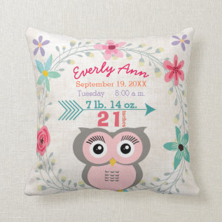 Birth Stats Baby Girl Forest Creature Pink Owl Throw Pillow at Zazzle