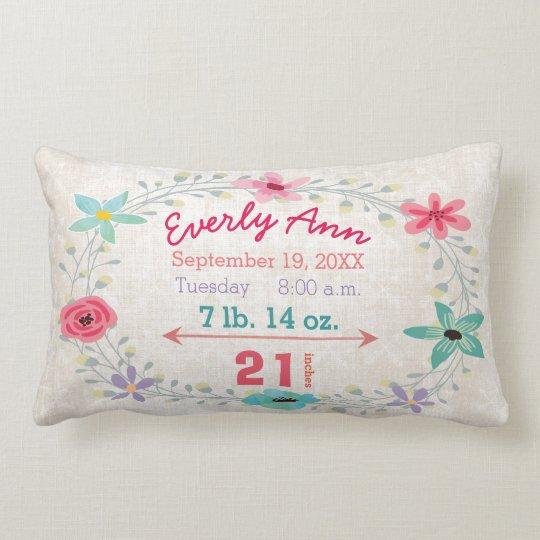 Birth Stats Baby Girl Forest Creatures Fox Lumbar Pillow