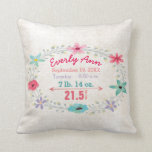 "Birth Stats Baby Girl Forest Creatures Fox Throw Pillow<br><div class=""desc"">Birth Stats Baby Girl Woodland Creatures Fox. Lovely Floral Wreath with Mint, Aqua, Pink and Coral Flowers and all the important birth stats or birth record that you will want to keep forever for this most wonderful day that that precious bundle of joy arrived here on this earth to everyone&#39;s...</div>"