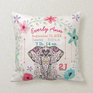 Birth Stats Baby Girl Jungle Creature Elephant Throw Pillow