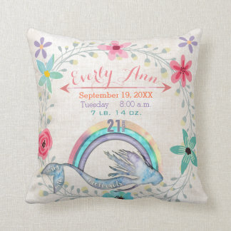 Birth Stats Baby Girl Magical Creatures Mermaid Throw Pillow