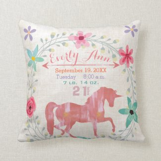 Birth Stats Baby Girl Magical Creatures Unicorn Throw Pillow