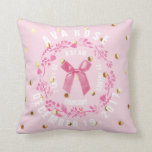 "Birth Stats | Baby Girl Pink Gold Dots Nursery Throw Pillow<br><div class=""desc"">Baby girl birth stats pink with gold dots keepsake nursery pillow- Personalized shower gift for new parents of baby girl. Soft pastel pink with faux gold dots on front and back. A pink leaf wreath frames personalized birth announcement, including time of birth, day of birth, birth weight and length. Curved...</div>"