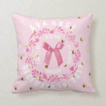 Birth Stats | Baby Girl Pink Gold Dots Nursery Throw Pillow