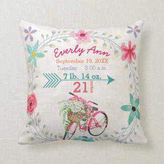 Birth Stats Baby Girl Vintage Retro Pink Bicycle Throw Pillow