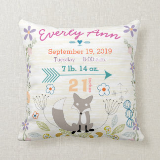 Birth Stats Baby Girl Woodland Creatures Fox Throw Pillows