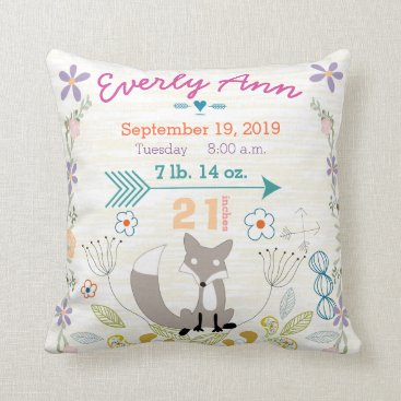 samack Birth Stats Baby Girl Woodland Creatures Fox Throw Pillow