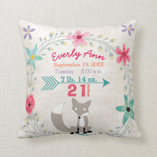 Birth Stats Baby Girl Woodland Creatures Fox Throw Pillow at Zazzle