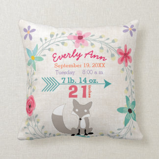Birth Stats Baby Girl Woodland Creatures Fox Throw Pillow