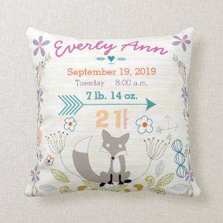 Birth Stats Baby Girl Woodland Creatures Fox Throw Pillows