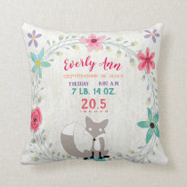 Birth Stats Baby Girl Woodland Forest Creature Fox Throw Pillow