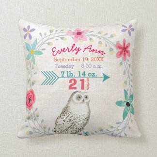 Birth Stats Baby Girl Woodland Forest Creature Owl Throw Pillow