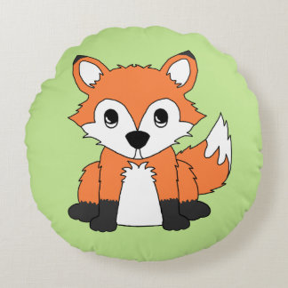 Birth Stats Baby Woodland Animal Creatures Fox Round Pillow