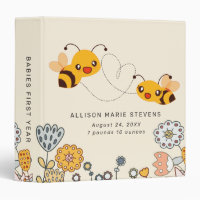 Birth Stats Cute Bees & Flowers Baby Photo Album 3 Ring Binder