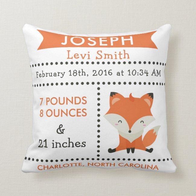 Birth Stats Fox Woodland Nursery Pillow