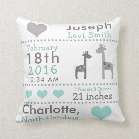 Birth Stats Giraffe Nursery Throw Pillow