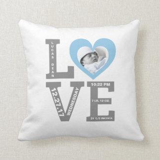 Birth Stats | Modern Typography Baby Boy Blue Throw Pillow
